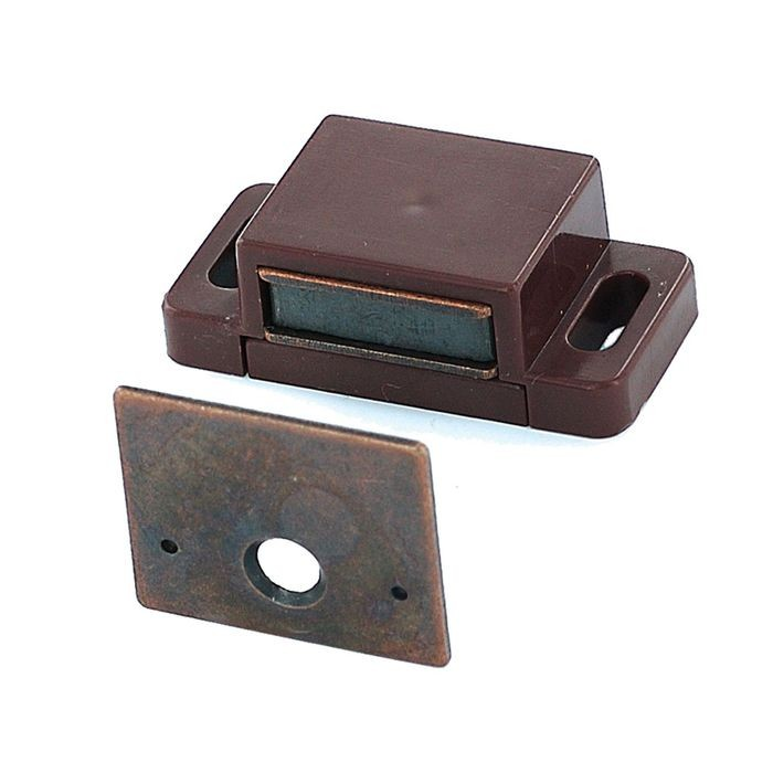 "1/2"" High x 5/8"" Wide x 1-13/16"" Long Brown ABS Plastic Magnetic Catch with Strike Plate"