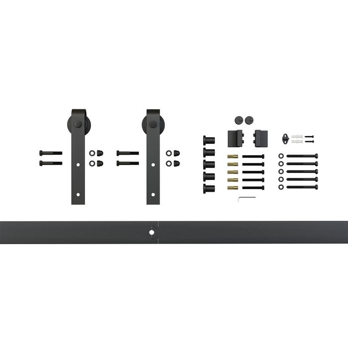 Sliding Barn Door Hardware Kits for Single Wood Doors Up to 39in W | Black Powder Coated Finish | 78in Rail Length (2 Pieces)