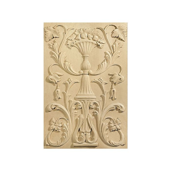 "12-7/8"" Wide x 18-7/8"" High Cherry Hand Carved Hardwood Door Panel"