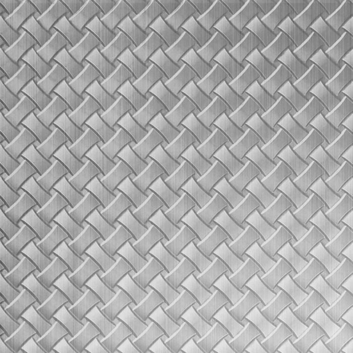 10' Wide x 4' Long Celtic Weave Pattern Brushed Aluminum Finish Thermoplastic Flexlam Wall Panel