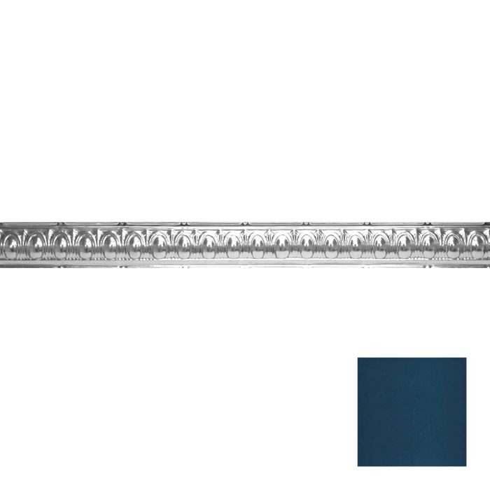 Tin Plated Stamped Steel Cornice | 3-1/2in H x 3-1/2in Proj | Midnight Blue Finish | 4ft Long