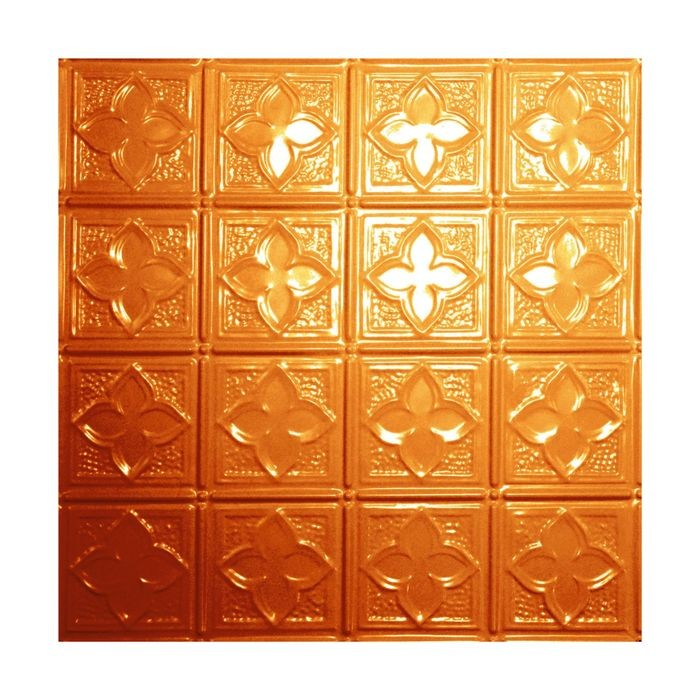 Tin Plated Stamped Steel Ceiling Tile | Nail Up/Glue Up Ceiling Tile | 2ft Sq | Lincoln Copper Finish