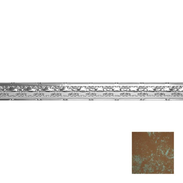 Tin Plated Stamped Steel Cornice | 4in H x4in Proj | Antique Copper Patina Finish | 4ft Long