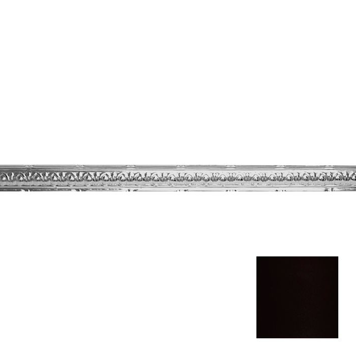 Tin Plated Stamped Steel Cornice | 2-1/2in H x 2-1/2in Proj | Black Finish | 4ft Long