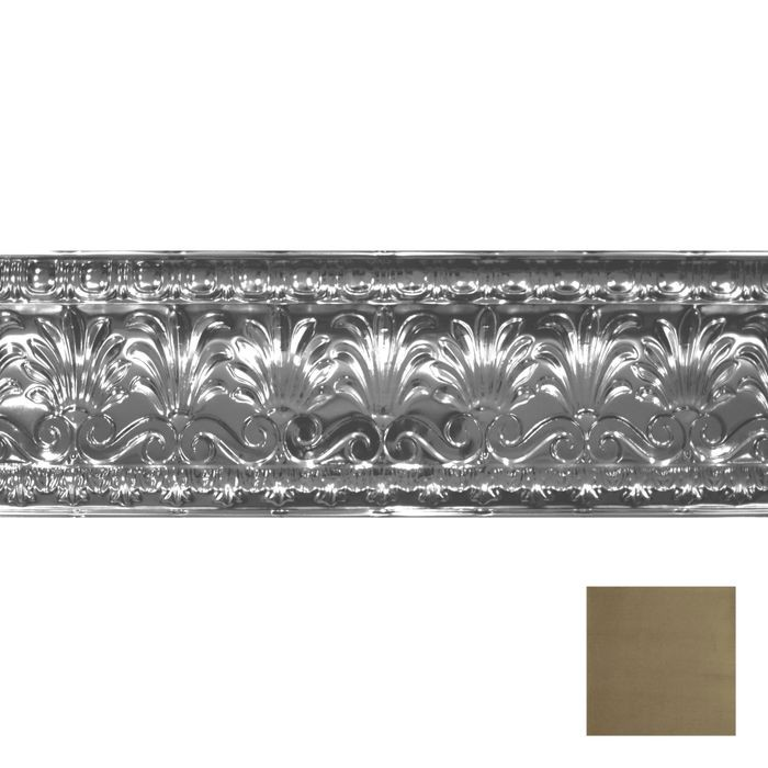 "10-1/2"" High x 10-1/2"" Projection Gallery Finish Decorative Stamped Steel Cornice Moulding 4' Length"