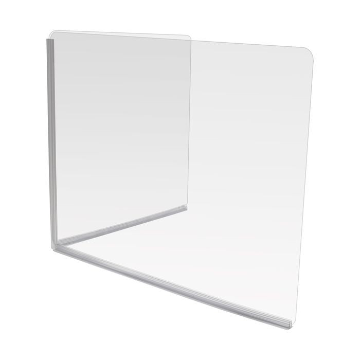 L-Shaped Clear Acrylic Desk/Countertop Protection Kit | Includes Rounded and Polished Acrylic Panels | Full-Length Corner Channels | Adhesive T-Base | 30in W x 24in H x 24in D; 3/16in Thick