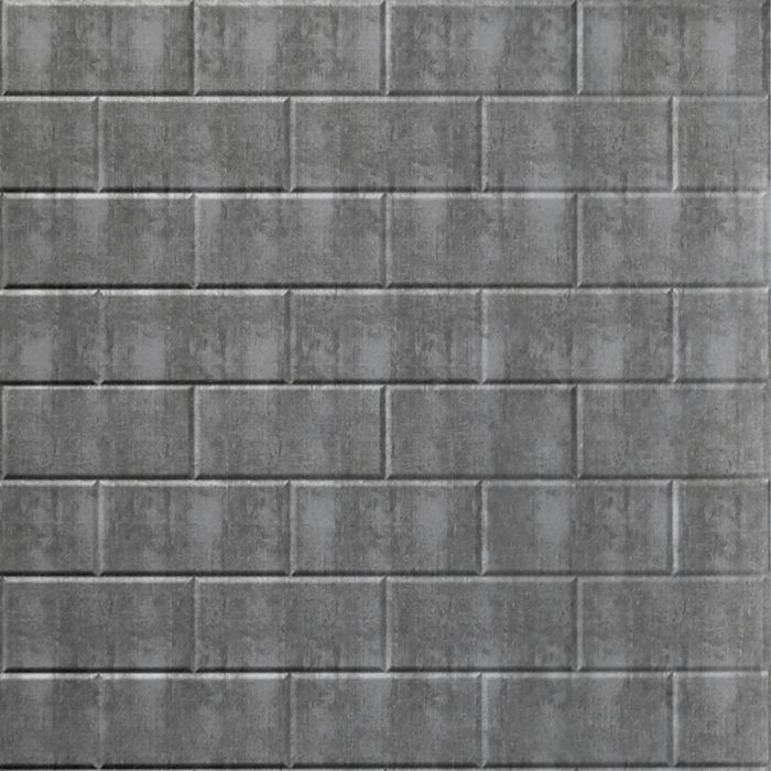 FlexLam 3D Wall Panel | 4ft W x 10ft H | Subway Tile Pattern | Crosshatch Silver Finish