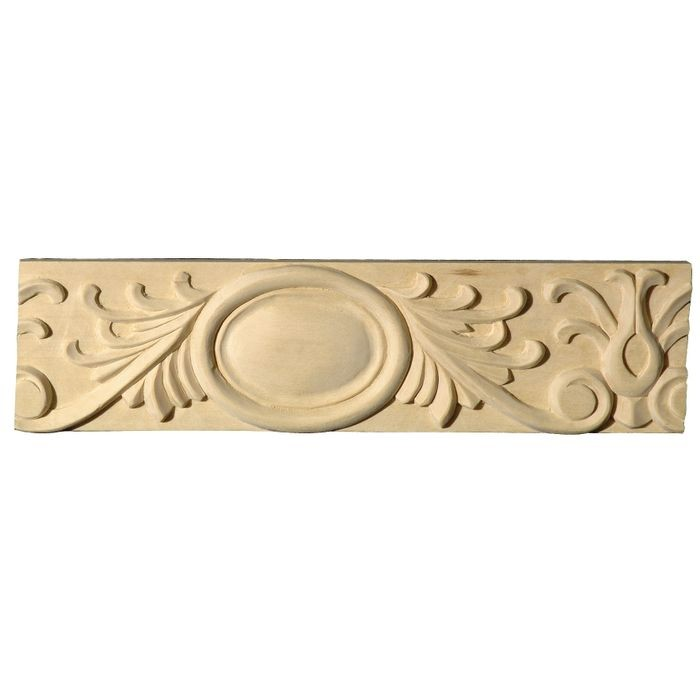 3-1/16in H x 5/8in Proj | White Hardwood Unfinished Hand Carved Wood Panel Moulding | 8ft Long