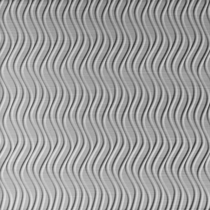10' Wide x 4' Long Wavation Pattern Brushed Aluminum Vertical Finish Thermoplastic Flexlam Wall Panel