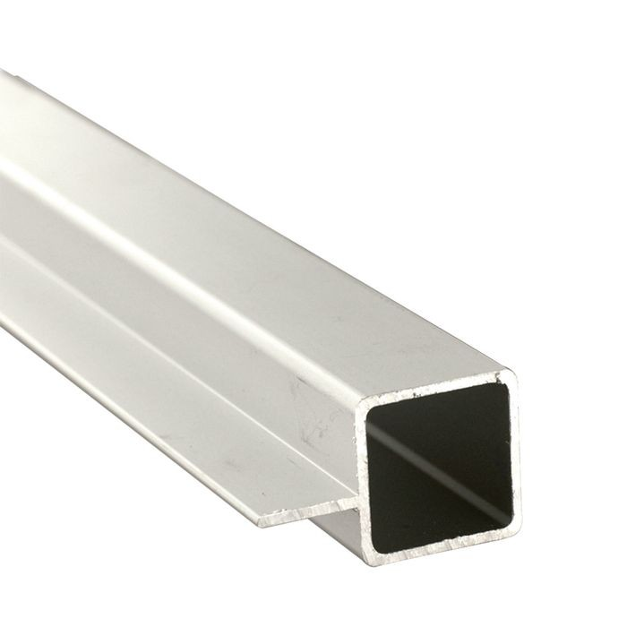 1in Sq Panel Connector Tubing with 5/8in Flange | Clear Anodized Aluminum | 8ft Length