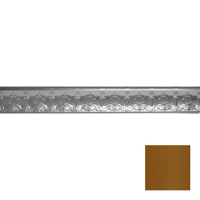 Tin Plated Stamped Steel Cornice | 4in H x 4in Proj | Metallic Brass Finish | 4ft Long