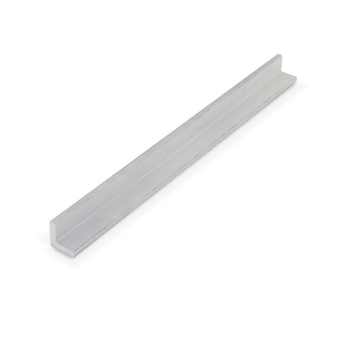 "1/2"" x 1/2"" x 1/8"" Thick Mechanical Polished Finish Aluminum Even Leg 90° Angle Moulding 12' Length"