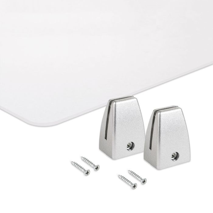 Clear Acrylic PPE Panel with PVC Desk Partition Clamps | Silver PVC