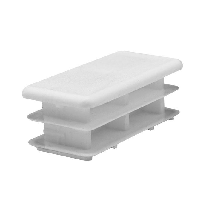 1in x 2in Rectangular | 14 - 23 Gauge | White Matte Finish Low Density Polyethylene | Plastic Universal Gauge Inside End Cap for Tubing