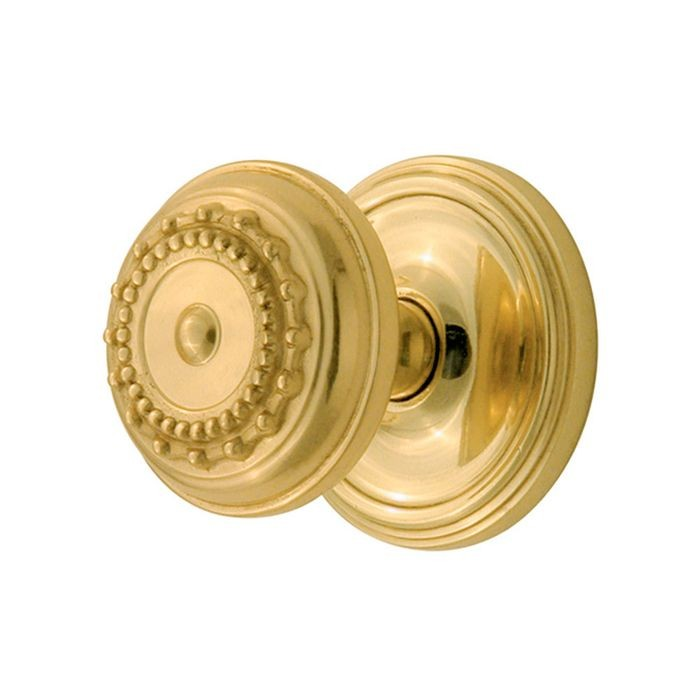Polished Brass Classic Rose Backplate With Privacy Meadows Knob