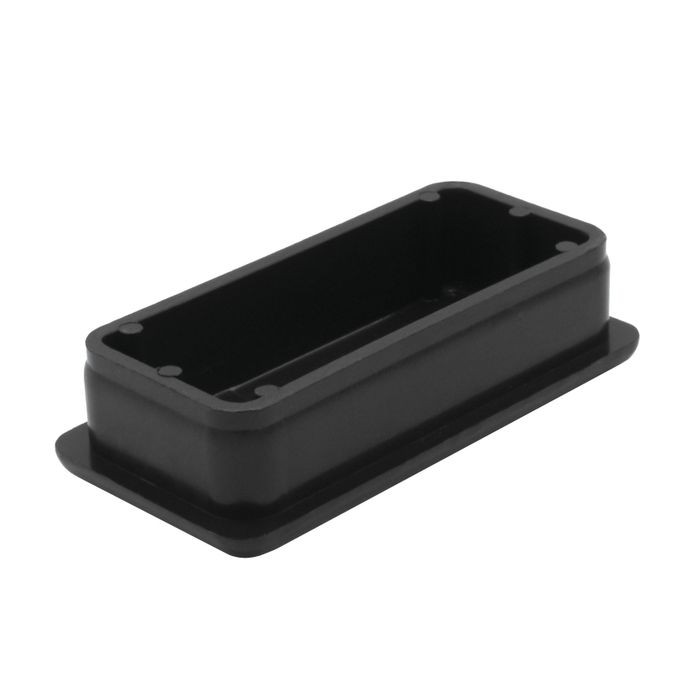 "1"" x 2"" Rectangular 14 Gauge Black Matte Finish ABS Plastic Inside End Cap for Tubing"