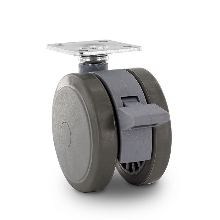 "2-3/8"" Diameter Two-Tone Gray Swivel Twin Wheel Series Institutional Caster With Brake, Square Top Plate 1-1/2"" x 1-1/2"""