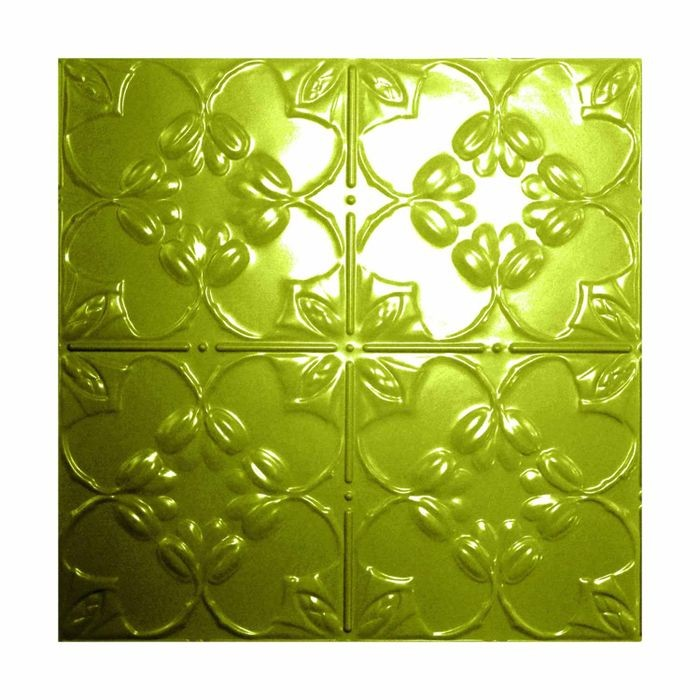 Tin Plated Stamped Steel Ceiling Tile | Nail Up/Glue Up Ceiling Tile | 2ft Sq | Sour Apple Finish