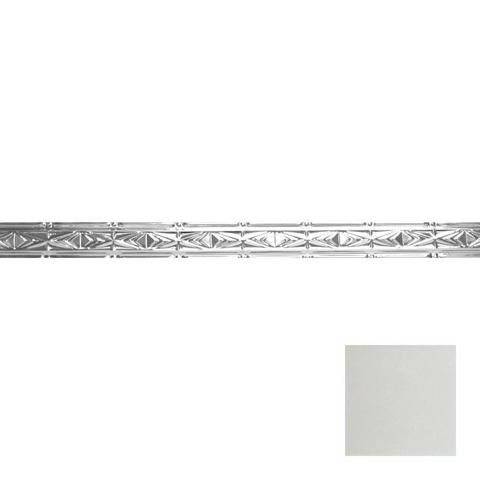 Tin Plated Stamped Steel Cornice | 3-1/2in H x 3in Proj | Egg Shell Finish | 4ft Long