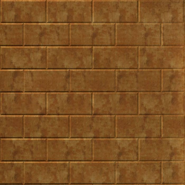 10' Wide x 4' Long Subway Tile Pattern Muted Gold Finish Thermoplastic Flexlam Wall Panel