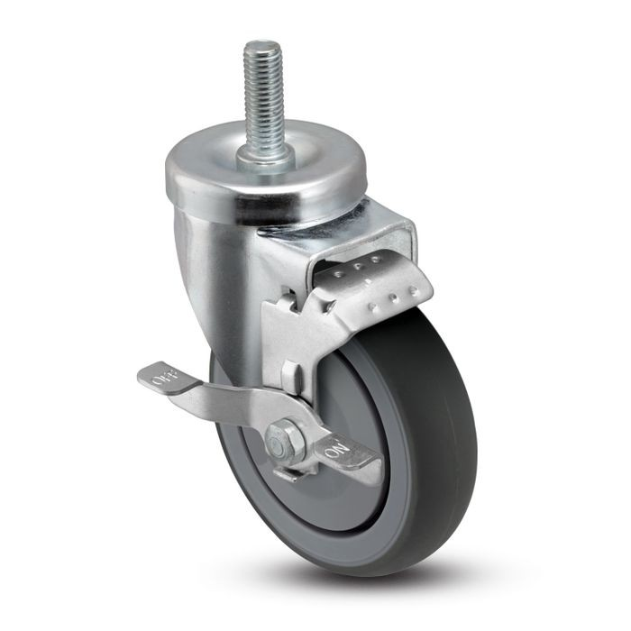 3in Dia | Gray Swivel NSF Series Institutional Caster with Brake | 1/2-13 x 1-1/2in Long Threaded Stem