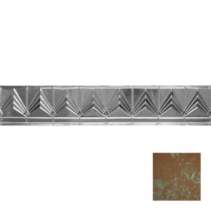 Tin Plated Stamped Steel Cornice | 6in H x 6in Proj | Antique Copper Patina Finish | 4ft Long