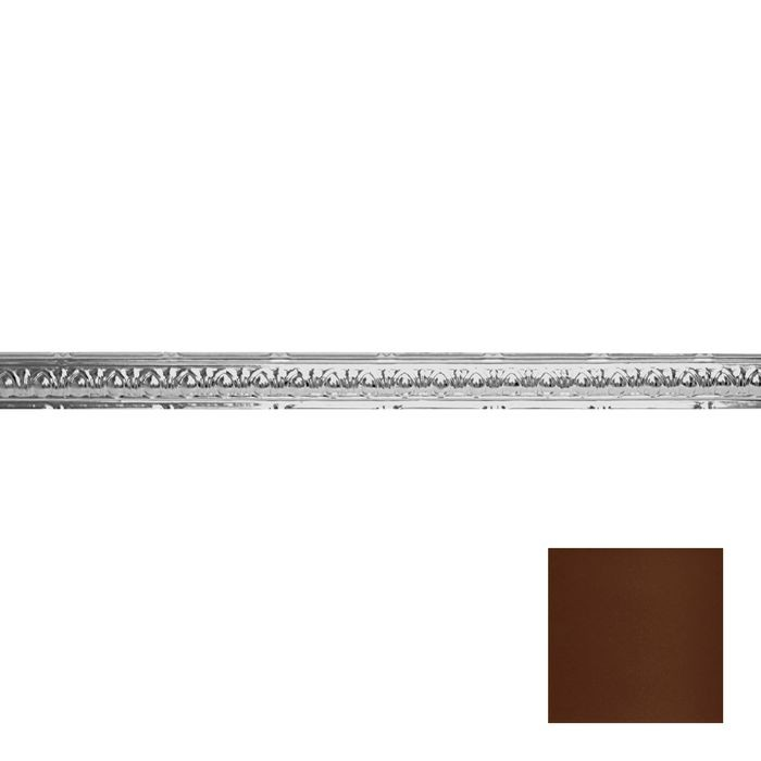 Tin Plated Stamped Steel Cornice | 2-1/2in H x 2-1/2in Proj | Maple Finish | 4ft Long