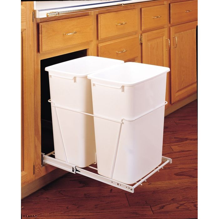 "Pullout Waste Container Double 35quart 14 3/8""W Fullextension"