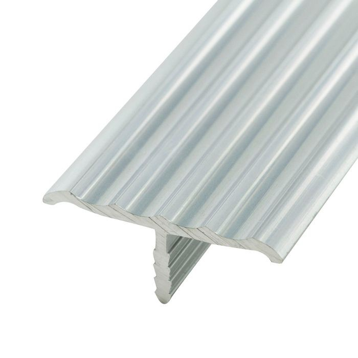 1-1/4in Mill Finish | No Notch Rigid Aluminium | Center Barb Rippled Tee Moulding | 12ft Length