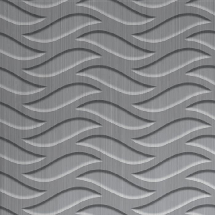 10' Wide x 4' Long Inferno Pattern Brushed Aluminum Finish Thermoplastic FlexLam Wall Panel