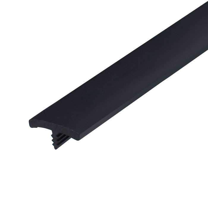13/16in Black Flexible PVC | Flat Face Bumper Tee Moulding | 250ft Coil