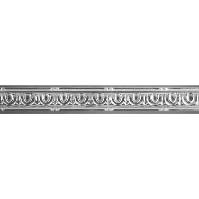 Tin Plated Stamped Steel Cornice | 2in H x 2-5/8in W x 2in Proj | Steel Finish | 4ft Long
