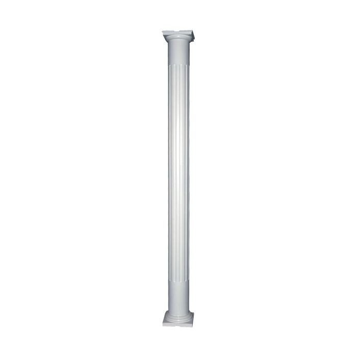 "12' High x 10"" Diameter Paint Grade Wood Non-Tapered Fluted Colonial Column with Polyurethane Capital and Base"