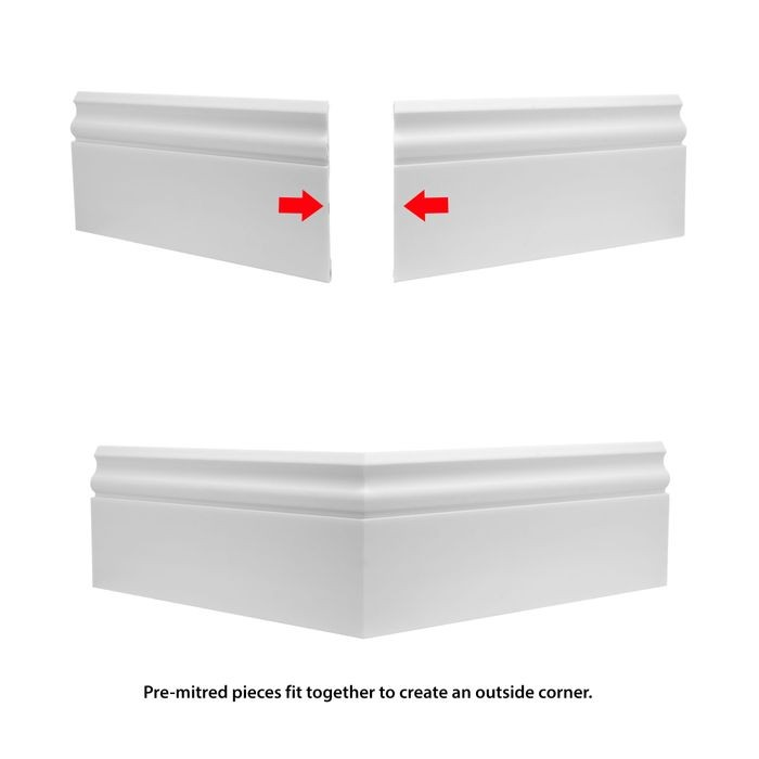 Trim Fast | White High Impact Polymer | Outside Baseboard Corner with Adhesive Back for TFM-4475-A