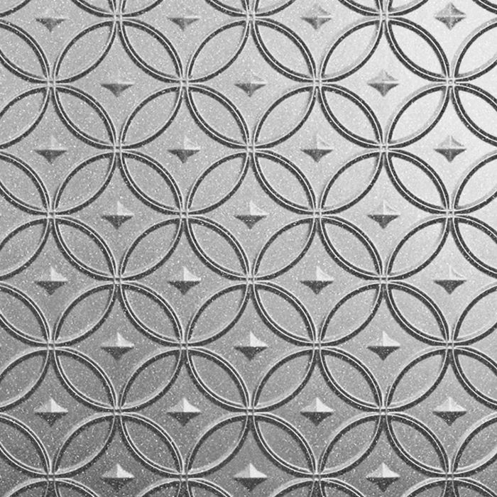 10' Wide x 4' Long Celestial Pattern Argent Silver Finish Thermoplastic Flexlam Wall Panel
