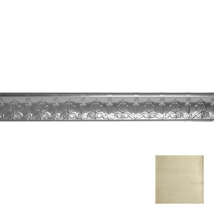 Tin Plated Stamped Steel Cornice | 4in H x 4in Proj | Antique White Copper Finish | 4ft Long
