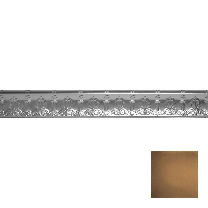 Tin Plated Stamped Steel Cornice | 4in H x 4in Proj | Antique Expresso Finish | 4ft Long