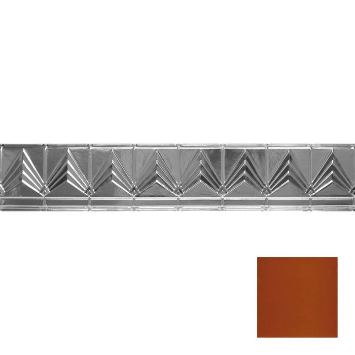 Tin Plated Stamped Steel Cornice | 6in H x 6in Proj | Metallic Copper Finish | 4ft Long