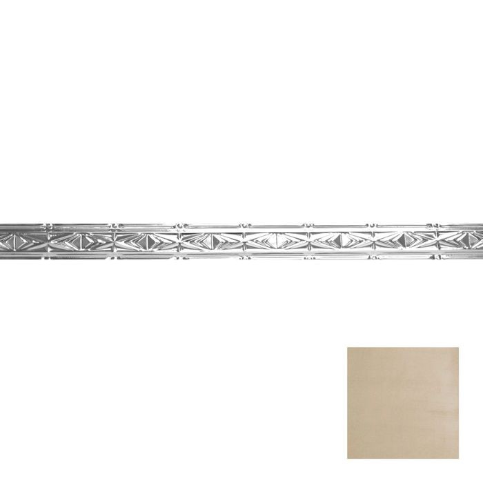 Tin Plated Stamped Steel Cornice | 3-1/2in H x 3in Proj | Antique White Gold Finish | 4ft Long