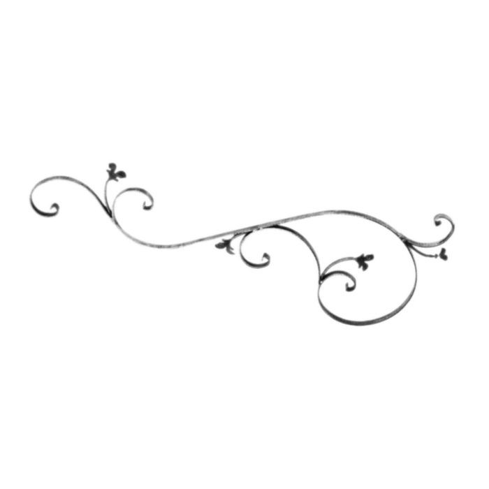 "1/4"" x 3/4"" x 50-3/8"" W x 17-11/16"" H Wrought Iron Scroll/Lvs"
