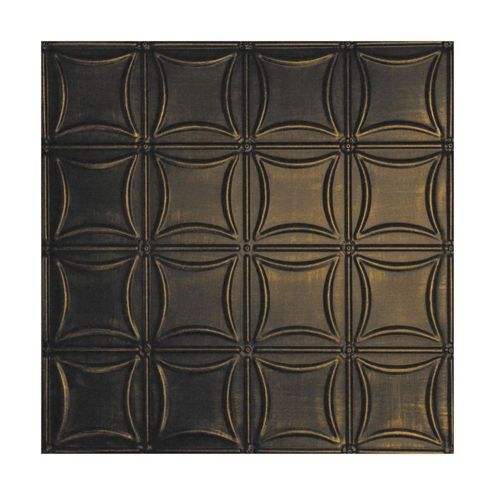 Tin Plated Stamped Steel Ceiling Tile | Lay In | 2ft Sq | Midnight Gold Finish