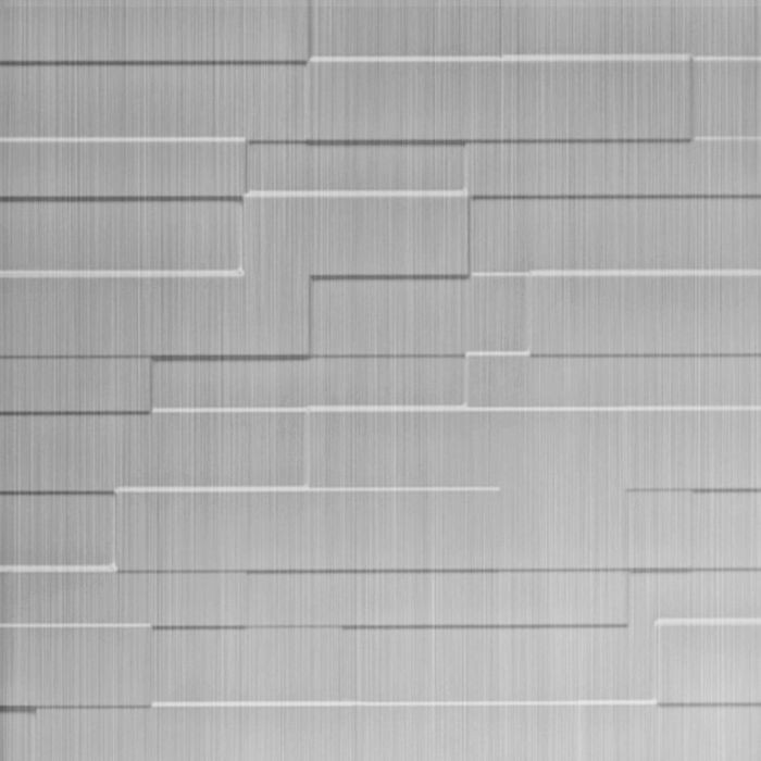 10' Wide x 4' Long Tetrus Pattern Brushed Aluminum Finish Thermoplastic Flexlam Wall Panel