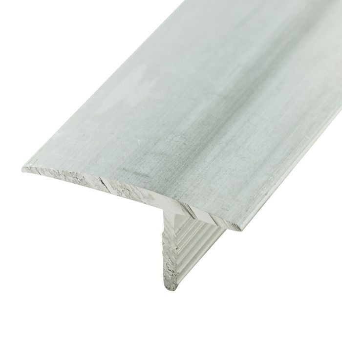 1-1/4in Clear Anodized (Satin) Finish Flat Aluminum | Offset Barb Tee Moulding | 12ft Length