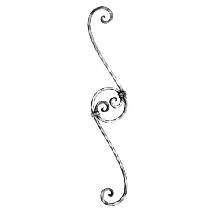 "1/2""  Square x 33-7/16"" H Wrought Iron-Curved Balusters"