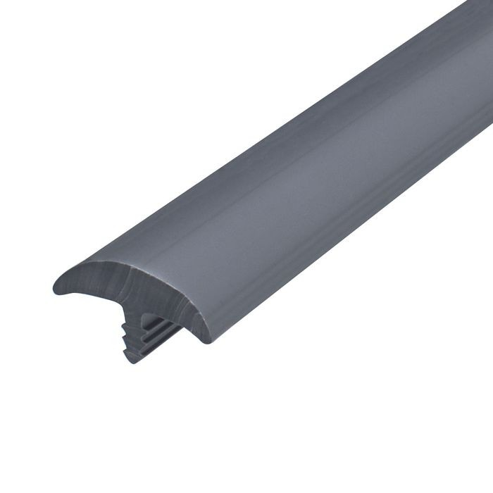 "1"" Slate Grey Flexible PVC Round Bumper Tee Moulding 250' Coil"