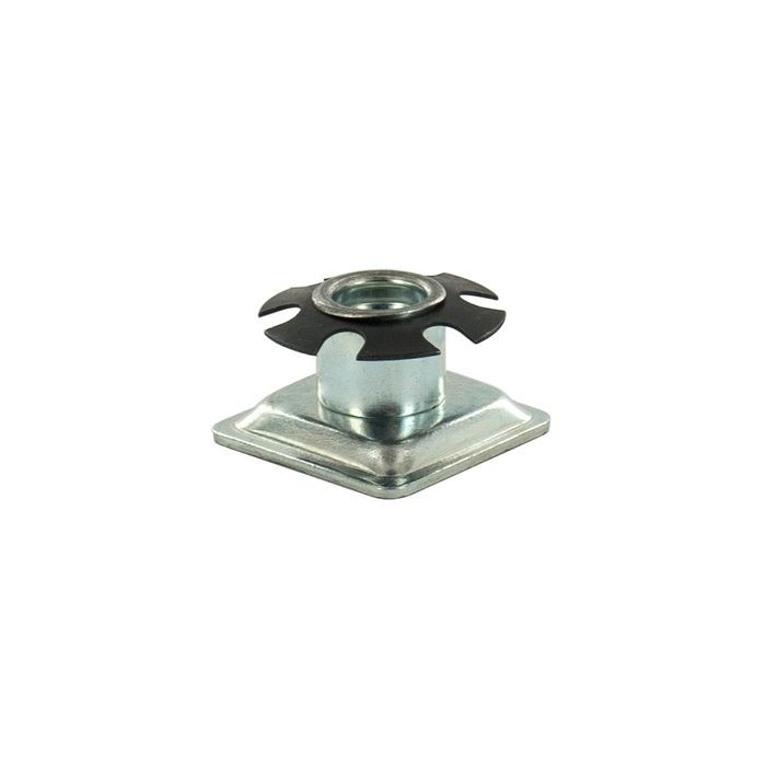 1-1/8in Square | 5/16-18 Thread | Heat Treated Carbon Steel | Square Single Star Metal Insert