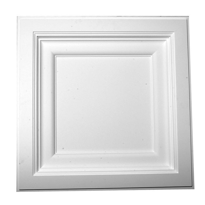 Versa Tile Polyurethane Ceiling Panel | 2ft Sq x 3.25in Proj | Drop In | Classic Style | Primed White | Ceiling Tile