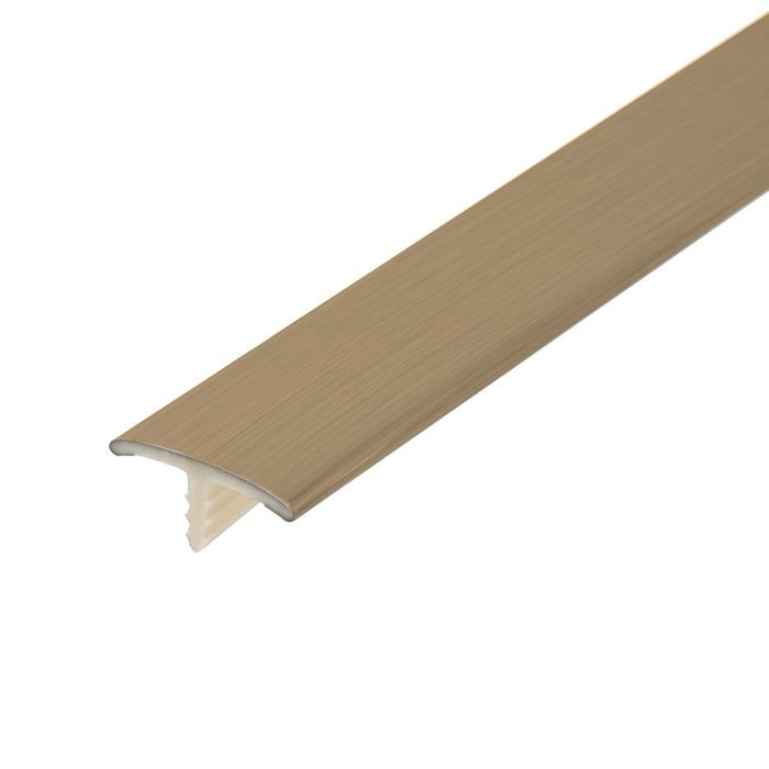 13/16in Brushed Brass Flexible PVC | Metallic Tee Moulding | 250ft Coil