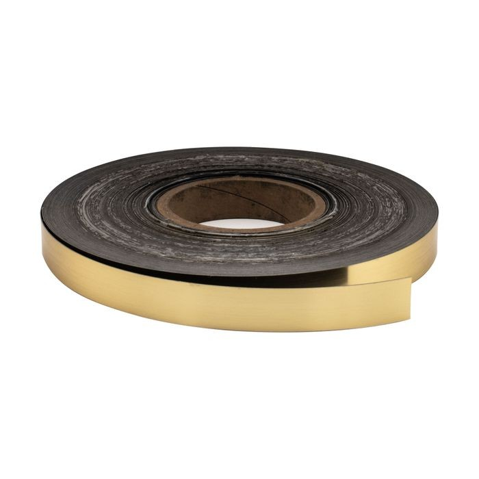 "1-1/2"" Wide x .020"" Thick Polished Brass Finish Metal Like Decorative Trim with Adhesive 250' Coil"