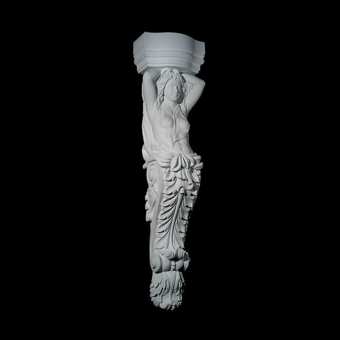 "12"" Wide x 49"" High Unfinished Polymer Resin Corbel"